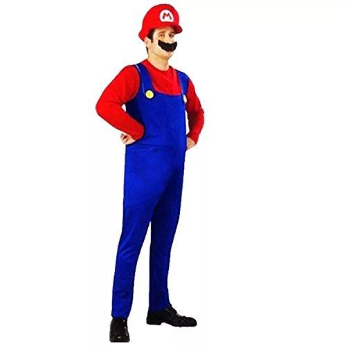 thematys Super Mario Luigi cap + pants + beard - costume set for adults - perfect for Carnival & Cosplay (S, 150-165cm height)