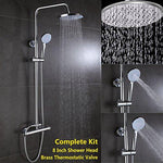 "Thermostatic Bath Shower Mixer Round Head Shower Set 8"" + Handset Anti-Scald Brass Bar Valve System Riser Rail Adjustable for Bathroom"