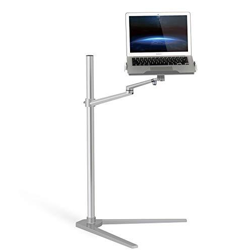 "Thingy Club 3 in 1 360º Rotating Height Adjustable Laptop Stand/Ipad Pro 12.9""/iPAD Air/iPAD mini/other 4'-14' Tablet and Smartphone - Bed floor Stand for Laptop (12-17 inch) (Silver)"