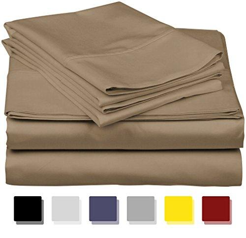 Thread Spread True Luxury 100% Egyptian Cotton - Genuine 1000 Thread Count 4 Piece Sheet Set- Color Taupe,Size QUEEN - Fits Mattress Upto 18'' Deep Pocket