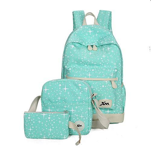 Three-Piece Set Backpack Female College Style Cotton Canvas Backpack Travel Bag Student Bag,C