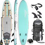 THURSO SURF Waterwalker All Around Inflatable Stand Up Paddle Board SUP 320 x 79 x 15 cm TWO LAYER Deluxe Package Includes CARBON Shaft Paddle/2+1 Quick Lock Fins/Leash/Pump/Roller Backpack