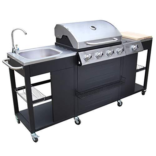 Tidyard Outdoor Kitchen Movable Barbecue BBQ Gas Grill with 4 Burners and Wheels,Stainless Steel