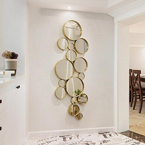 TIEZHITIA Wall Sticker Bedroom Wall Decoration Living Room Wall Haning Home Decoration Round Stainless Steel Mirror, Titanium Gold - Erect