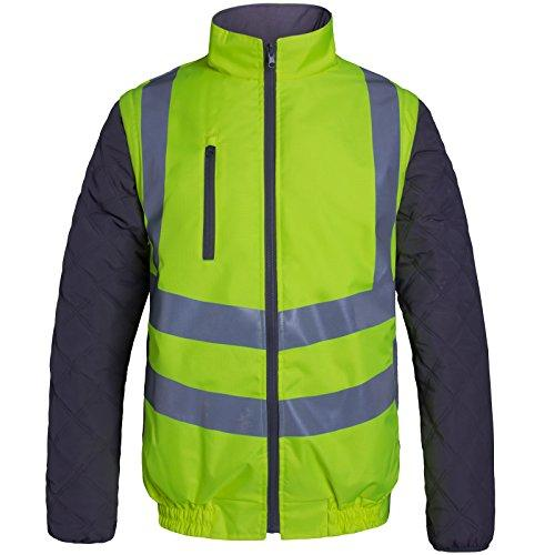 Tigerbox Aqua All Seasons Reversible High Visibility Ripstop Body Warmer Safety Gilet Vest Jacket Coat EN ISO 20471:2013 Hi Vis Flourescent Yellow Size Extra Large (XL) - Comes Antibacterial Pen.