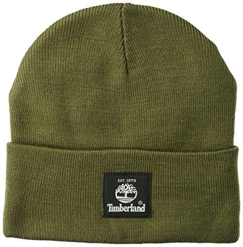 Timberland Men's Short Watch Cap with Woven Label Cold Weather Hat, Grape Leaf, One Size