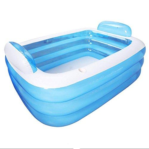 TINGTINGDIAN Double Adult Adult Bathtub Couple Inflatable Bathtub Children's Thickening Bathtub Folding Tub Bathtub PVC Material Blue 150 * 105 * 55(CM)
