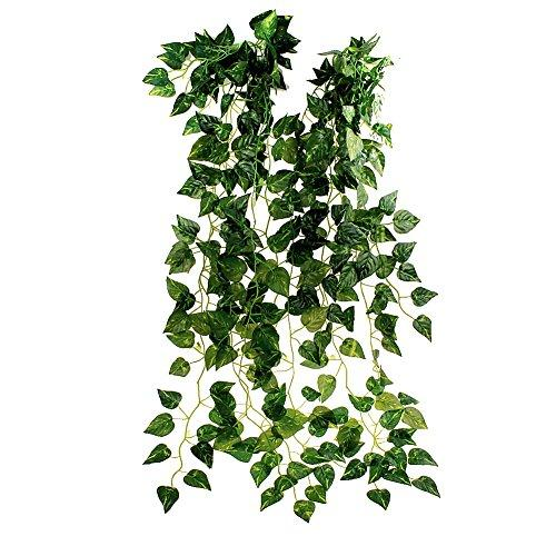 "TININNA 35"" Ivy Silk Greenery Atificial Fake Hanging Vine Plant Leaves Garland Home Garden Wall Decoration 15 Pcs"