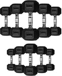 TNP Accessories Rubber Hexa Hex Dumbbells Weight Set Solid Dumbbell (30KG)
