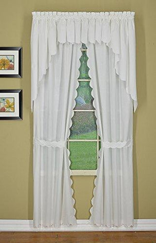 "Today's Curtain CA2003K Orleans 54"" Panel Pair with Tiebacks Tambour Scallop Edge Curtain, White, 60"" W x 54"" L/TB"