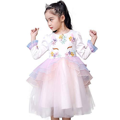 Toddler Baby Kids Girls Unicorn Costume Cosplay Party Fancy Dress up Princess Ruffled Tulle Tutu Skirt Outfits Birthday Pageant Halloween Christmas Skater Dresses White+Pink (Long Sleeve) 18-24 Months