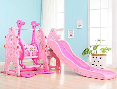 Toddler Climber and Swing Set Combination of Swing Slide With ball pool and air pump Outdoor & Indoor & Garden Playground,Pink
