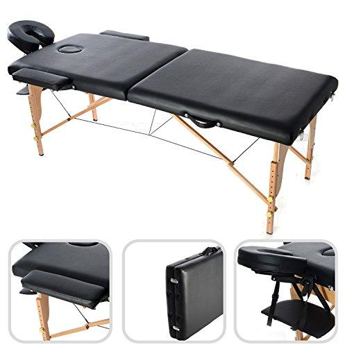 Todeco - Foldable Massage Table, Professional Therapy Table - Size: 186 x 71 x 62 cm - Height: Adjustable 62-83 cm - Black, with Headrest, armrest, carry bag, 2 section foldable, Wooden legs