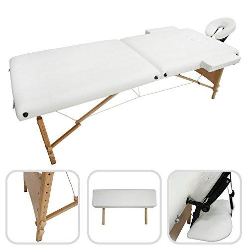 Todeco - Foldable Massage Table, Professional Therapy Table - Size: 186 x 71 x 62 cm - Height: Adjustable 62-83 cm - White, Wooden legs, 2 section foldable, with Headrest, armrest, carry bag