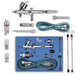 Toechmo Airbrush Kit Dual Action Air Brush Kit Spray Gun Air Hose with 0.2mm/0.3mm/0.5mm Needle for Tattoo, Cake Decorating, Nail Beauty, Painting-008