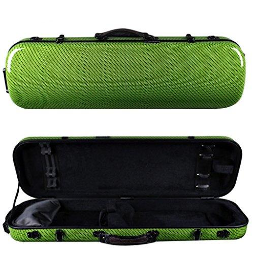 Tonareli Violin Oblong Fiberglass Case- Green Checkered Special Edition VNFO 1016 4/4