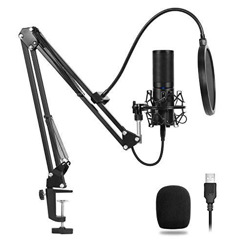 TONOR USB Condenser Microphone Recording Mic, Cardioid Polar Pattern for Music and Video Recording, Podcast, Gaming or Chat, Suspension Scissor Arm Stand with Shock Mount and Mounting Clamp Kit