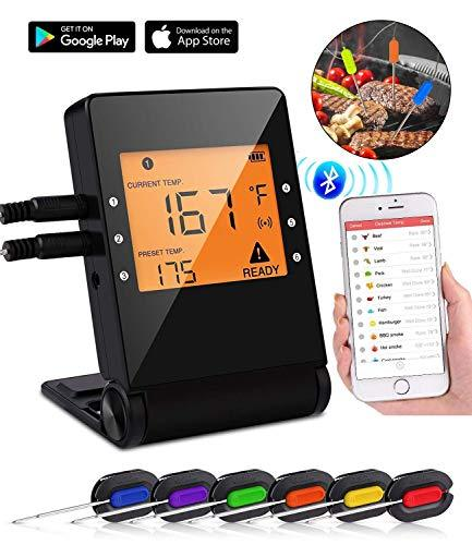 Tooklanet Digital Cooking Thermometer, Wireless Meat Thermometer with Probe and Large LCD Display, Bluetooth BBQ Thermometer with App Control Alarm Monitor for Grill Smoker, Kitchen Oven.6 Pack