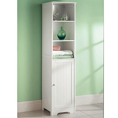 Top Home Solutions Tall Bathroom Storage Unit | White 1 Door 4 Shelf Tallboy Cabinet Cupboard