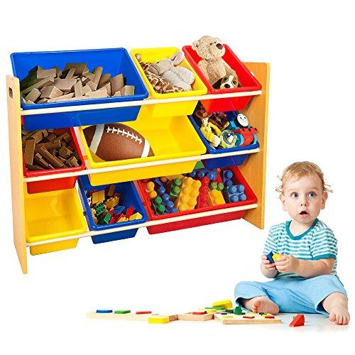 TOP-MAX Kids Children Toys Storage Shelves Wood Display Unit Shelf Rack Stand Holder with 9 Colorful Plastic Toy Organiser Bins Cases Boxes for Nursery Room Bedroom Playroom