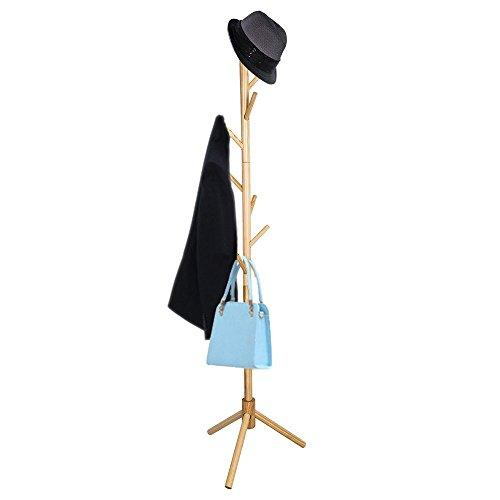 TOP-MAX Wooden Coat Stand 8 Hooks Hat and Coat Rack Free Standing Tree Clothes Rail Hanging Storage Organiser for Entryway Hallway Bedroom Closet Wardrobe 175CM Natural