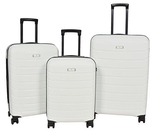 Top Quality 4 Wheel Luggage Solid Hard Shell Travel Expandable White Suitcase TSA Lock Trolley - Vector (Full Set 3 Pcs)