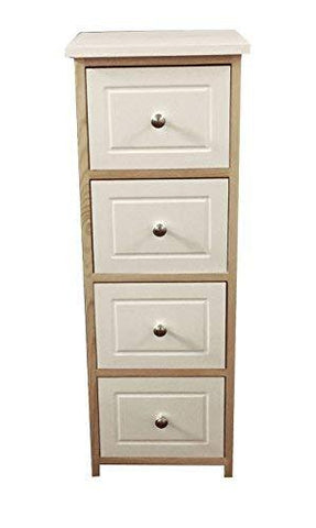topfurnishing Assembled Shabby Chic White Pine Slim Narrow Chest of 4 Drawers Hallway Bedside Table Storage Cabinet Unit[4 Draw: 30x30x82cm]