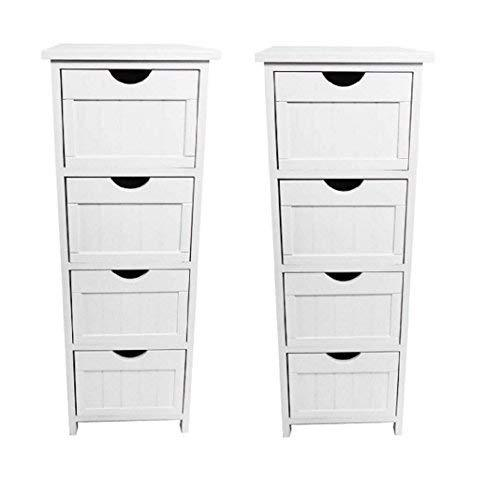 topfurnishing Pair Set of 2 White Narrow Slim 4 Drawer Kids Bedside Hallway Table Storage Cabinet Unit