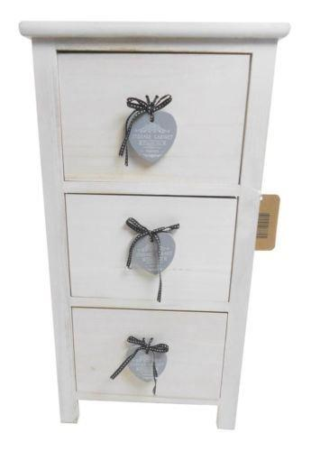 topfurnishing Shabby Chic 3 Chest of Drawers Hallway Kids Bedside Table Storage Unit Cabinet Wood, White,, 32 x 21 x 62 cm
