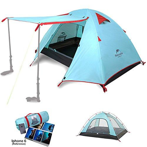 Topnaca Naturehike 1 2 3 4 Man Backpacking Camping Dome Tent, 3 Season Lightweight Waterproof Awning Two Doors Double Layer with Aluminum Rods for Outdoor Family Beach Hunting Hiking Travel