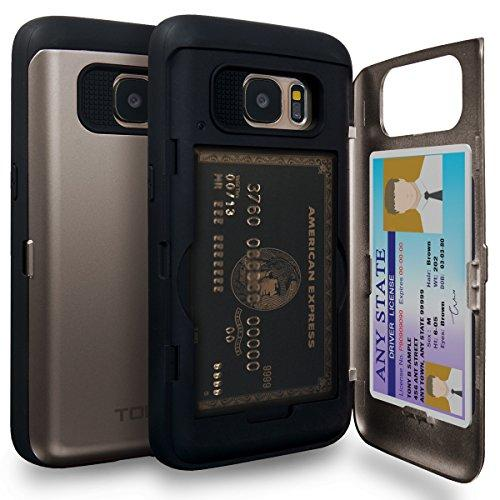 TORU CX Pro Galaxy S7 Wallet Case with Hidden ID Slot Credit Card Holder Hard Cover & Mirror for Samsung Galaxy S7 - Gunmetal
