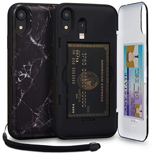 TORU CX PRO iPhone XR Wallet Case Pattern with Hidden Credit Card Holder ID Slot Hard Cover, Strap, Mirror & USB Adapter for Apple iPhone XR (2018) - Black Marble