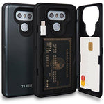 TORU CX PRO LG G6 Wallet Case Dark Blue with Hidden ID Slot Credit Card Holder Hard Cover, Mirror & USB Adapter for LG G6 - Metal Slate
