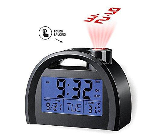 Touch The Voice Of The Newspaper Clock Sound Control Backlight Projection Alarm Clock Alarm Clock Display Calenda