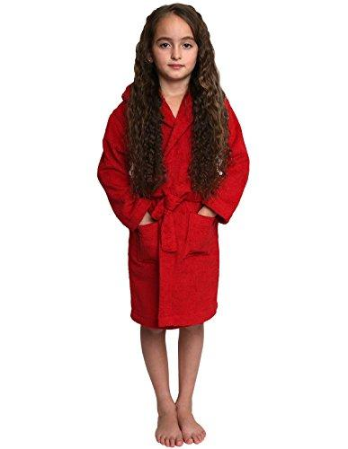 TowelSelections Girls Robe, Kids Hooded Cotton Terry Bathrobe, Made in Turkey - Red -