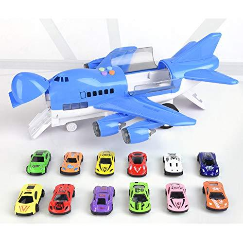 Toy Airplane for Baby 40CM Oversized Airbus Toy with 12 Alloy Cars And Music Track, Plane with Soft Lighting And Sings, Educational Toy for Kids,Blue