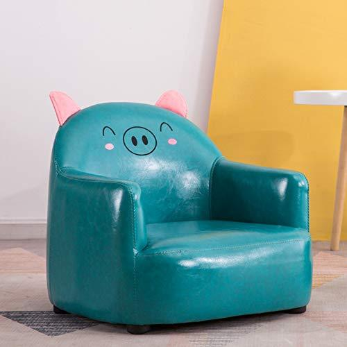 TOYSOFA Kid sofa chair seat, Cute pig animal Kid armrest chair Creativite leather upholstered Foam couch Toddler furniture for boy girl birthday gifts-blue