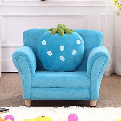 TOYSOFA Kid sofa seat, Cartoon strawberry princess Child sofa Plush stuffed Bean bag chair Armrest chair couch with cushion for toddlers children's furniture -blue 67 * 55 * 48cm(26 * 22 * 19in)
