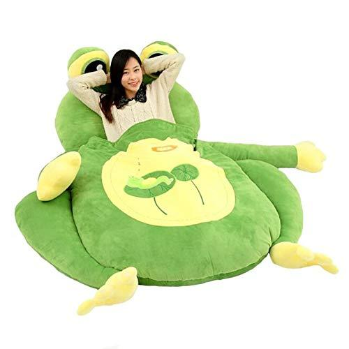 TOYSOFA Plush lazy sofa bed, Cartoon animal plush stufffed Mummy sleeping bag Toddler furniture toy tatami lazy couch for adult living room -green 170x100cm(67x39inch)