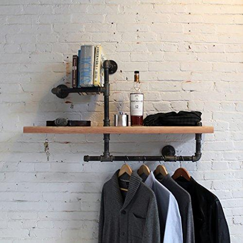 Tqbzs Loft retro Solid wood partition Shelf Wall hanging shelf iron bookshelf Separator Floating unit frame Wall decoration 70 * 20 * 55cm