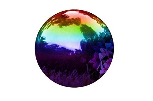 "Trademark Innovations Stainless Steel Rainbow Gazing Mirror Ball, 10"", Rainbow"