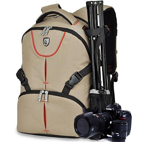Travel Backpack Camera SLR Case Bag Multifunctional Camera Bag Adjustable Lens Storage, Quick Access Camera Pockets Waterproof Camera Bag Rain Cover- Khaki