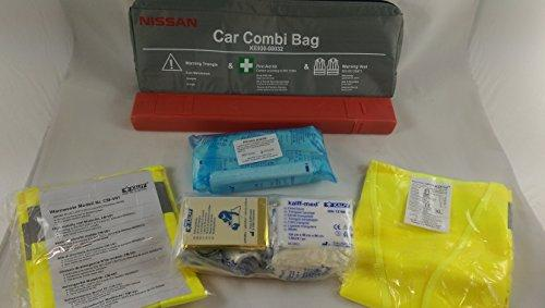 Travel Kit - Combi Bag Black First Aid According to DIN 13164 and Warning Triangle and Hi-Viz vest EN ISO 20471