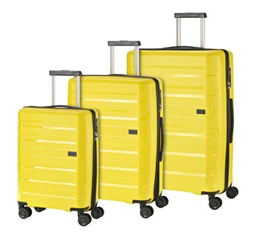 Travelite Kosmos 4-Wheel L/M exp./S, Gelb,73940-89 Luggage Set, 77 cm, 218 liters, Yellow (Gelb)
