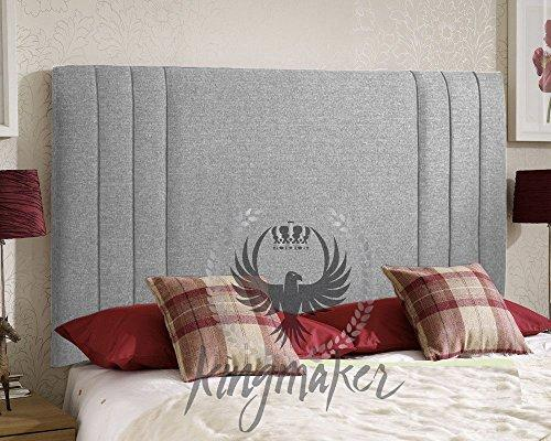 "TrendMakers SILVER GREY Luxury 5FT Premium Quality Panel Chenille Fabric Headboards Padded Upholstered Home Bed New - Height 24"" (With Struts)"