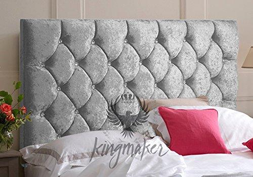 "TrendMakers Silver Grey Luxury Crystal Diamante Tufted 5FT Premium Quality Panel CRUSH VELVET Fabric Headboards Padded Upholstered Home Bed New - Height 30"" (With Struts)"