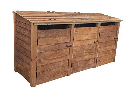 Triple Wooden Wheelie Bin Storage Household Council Outdoor Waste Shed Made of Pressure Treated Timber
