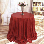 "TRLYC 108"" Round Red Round Tablecloth Sparkly Wedding Tablecloth"