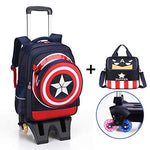 Trolley Bag Children's Trolley Bag six Rounds Climbing Stairs Girl Trolley Shoulder Bag Shield Beauty Team - high six-Wheeled Lever - Navy