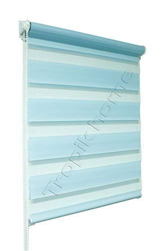 Tropik home Blue Day and Night Zebra/Vision Window Roller Blind, Choice of 16 Width Sizes, 120cm Wide (+4.5cm fittings)
